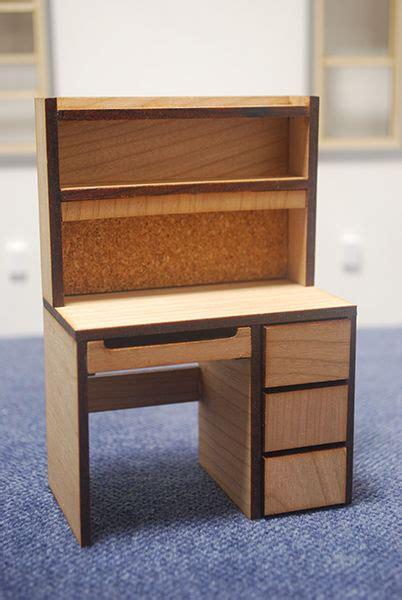 scale miniature dollhouse dorm desk  steps