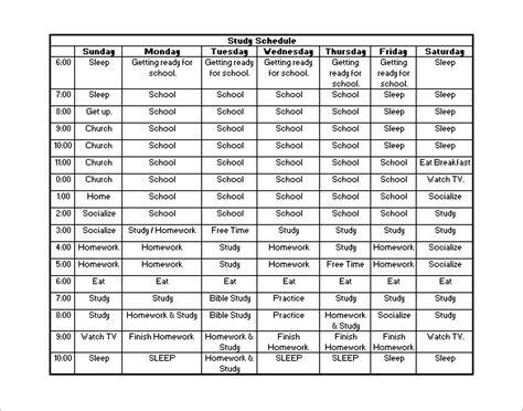 study template word 18 study schedule templates pdf doc free premium templates
