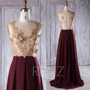 rose gold lace bridesmaid dress long maroon chiffon wedding With rose gold lace wedding dress