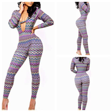 New Arrival Fashion Sexy Women Long Sleeve Deep V-Neck one piece jumpsuits Colors print bandage ...