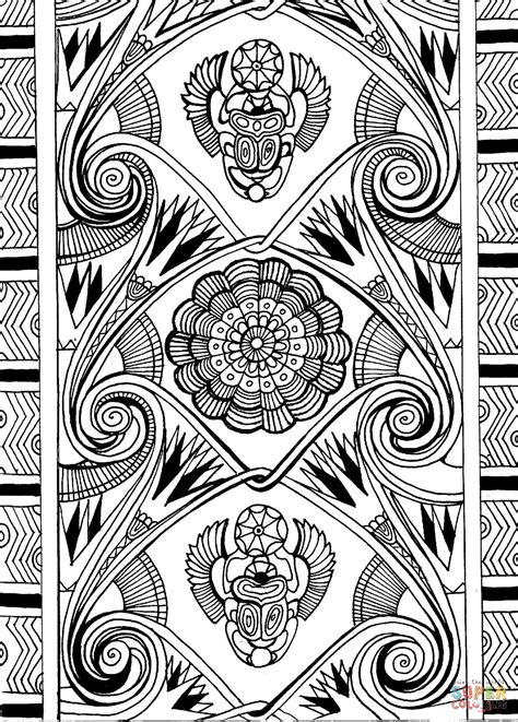 ancient egypt pattern  scarabaeus sacer  lotus coloring page  printable coloring pages