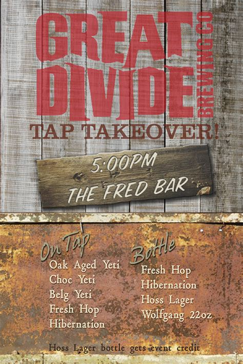 Great Divide Tap Takeover, 1030 @the Fred Bar Beer