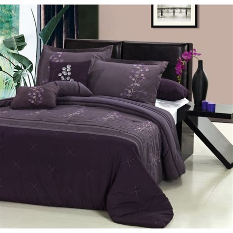 bedroom gray and dark purple king size bedding set feat
