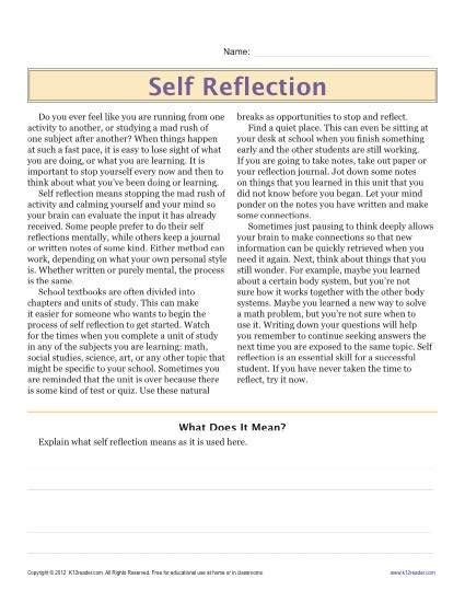 sixth grade reading comprehension worksheet self reflection