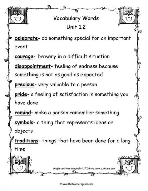 worksheets 3rd grade vocabulary worksheets