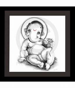Truly Godly Cute Baby Ganesha Playing With Mouse Sketch ...