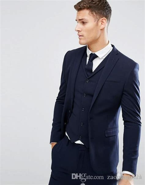 Not only is it an essential part of your business formal wardrobe but a navy blue suit works overtime as a navy wedding suit, a navy this is a huge contrast compared to other cheaper suits i've purchased from other brands. Cheap Navy Blue Mens Suits Slim Fit Groomsmen Wedding ...