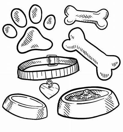 Dog Coloring Bone Pages Bowl Printable Foo