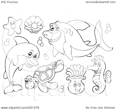 royalty  rf clipart illustration   digital collage  coloring page outlines  sea