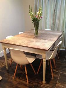 country, style, table, with, eames, style, chairs