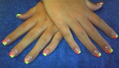 day  abstract neon french nail art nails magazine