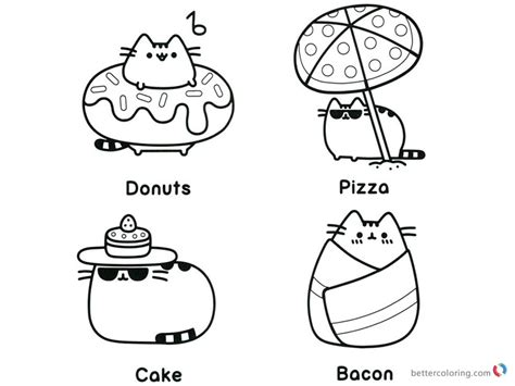 Pusheen Coloring Pages Beach Essentials