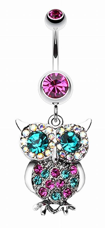 Belly Button Owl Sparkling Dangle Jeweled Ring