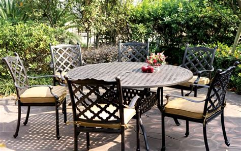 patio furniture dining set cast aluminum 60 quot table