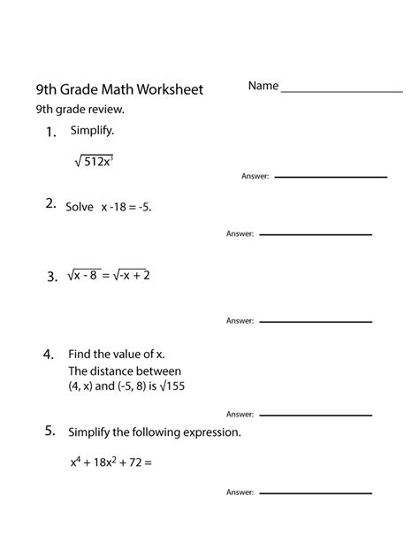 Practice sheets for factoring high degree polynomials. Free 9th Grade Math Worksheets Printable   9th grade math ...