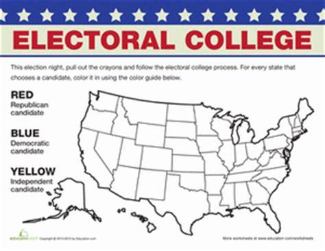 Electoral College Map  Worksheet Educationcom