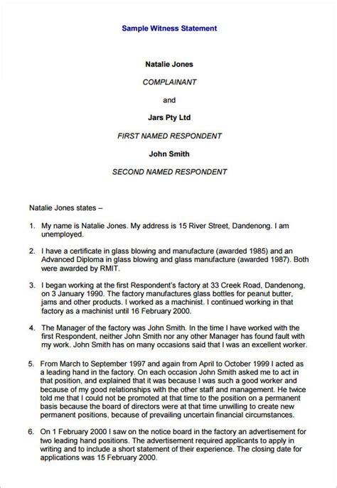 witness statement template    documents