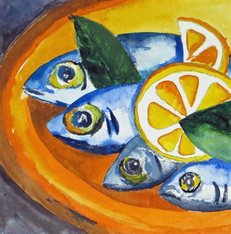 stillleben mit fischen  fisch aquarellmalerei