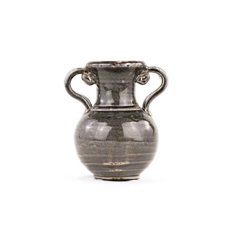 gray distressed pottery urn decorative glazed terracotta