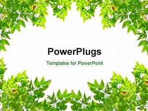 Powerpoint Template  Frame With Green Leaves  14982