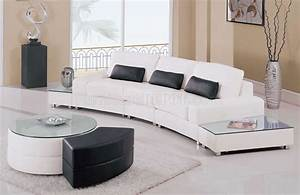 White leather 5pc modern sectional sofa w glass top end tables for Sectional sofa end tables
