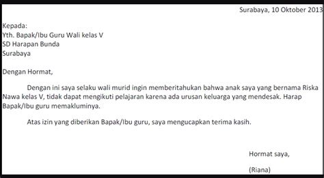 gambar contoh surat pernyataan tidak masuk sekolah  bagi