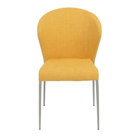 eurostyle sy dining chair in yellow and brushed stainless
