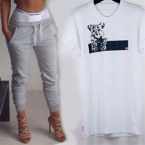 T-shirt cats 14 sexy white white t-shirt rolled sleeves crewneck sweatpants london ...