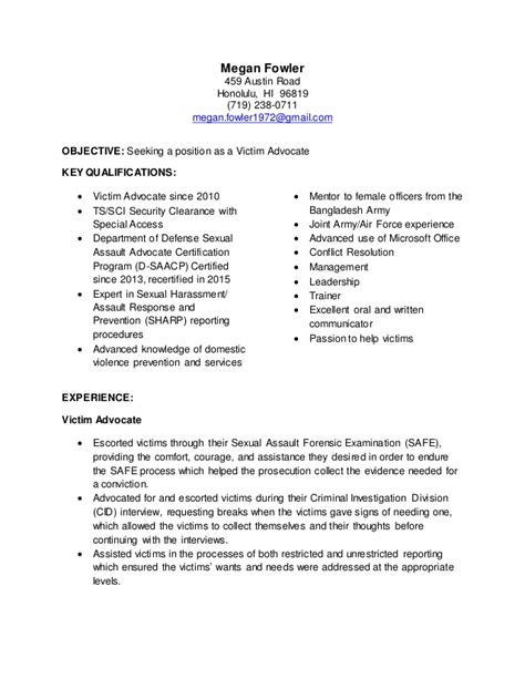 Victim Advocate Resume Objective by Targeted Resume Victim Advocate