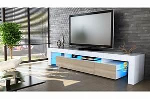 Meuble TV Design Laqu Blanc Novomeuble