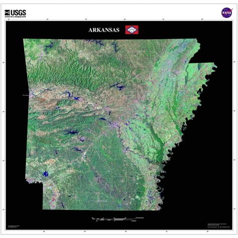 arkansas satellite poster map aerial views  space