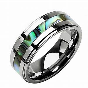 8mm new tungsten band abalone inlay mens wedding ring ebay With ebay wedding rings for men