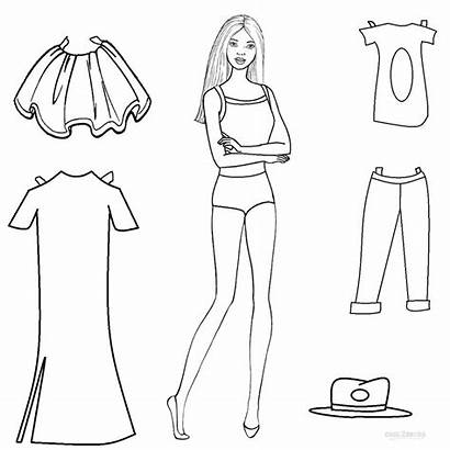 Paper Doll Coloring Dolls Pages Printable Barbie