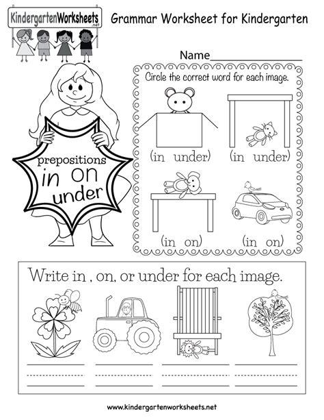 in this grammar worksheet for kindergarten