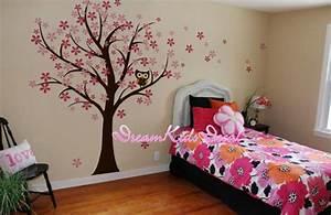 Stickers Arbre Chambre Bébé : hibou et cerisier des oiseaux fleur arbre mur stickers chambre ~ Melissatoandfro.com Idées de Décoration