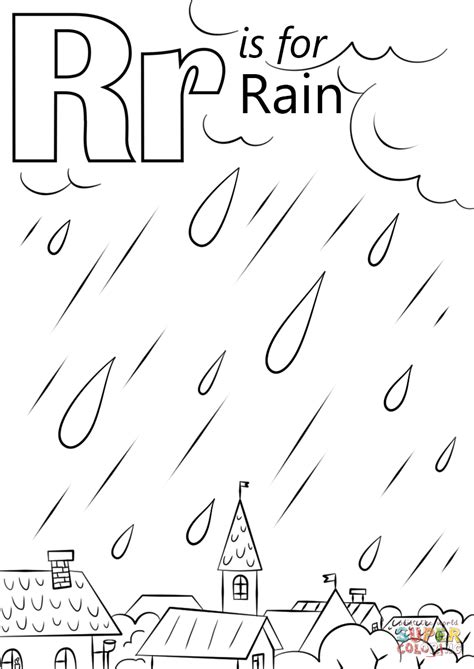 letter    rain coloring page  printable