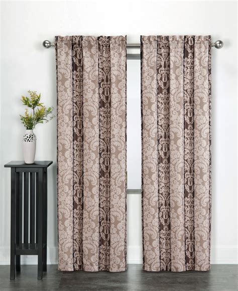 kmart window curtain rods essential home damask print microfiber panel neutral