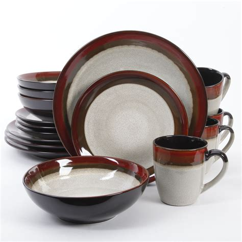 dinnerware gibson elite couture sets bands piece plates dinner dishes brown melamine stoneware sc st outlet pieces dining reactive square