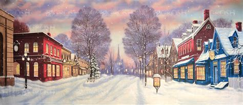 Town Backdrop by Winter Small Town Backdrop Rental Grosh S3665