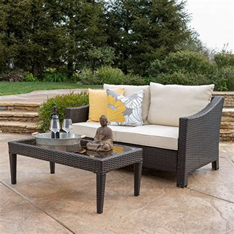 aspen outdoor wicker loveseat table w water resistant