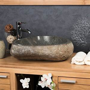 vasque a poser en galet de riviere naturel ronde d 50 cm With vasque salle de bain pierre