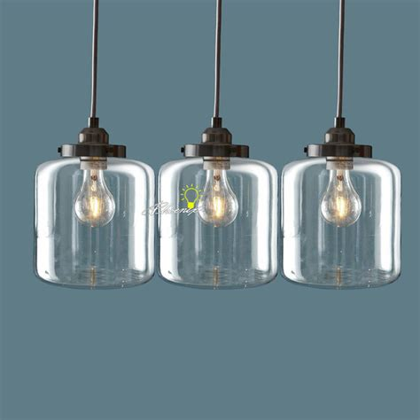 modern 3 clear glass bottles pendant lighting in brushed