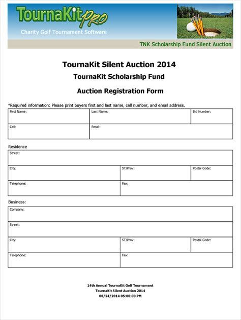 Tournament Application Form Template by Charity Auction Forms Images 108 Silent Auction Bid