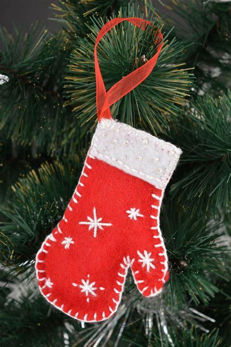 madeheart decoration de noel deco fait main moufle rouge
