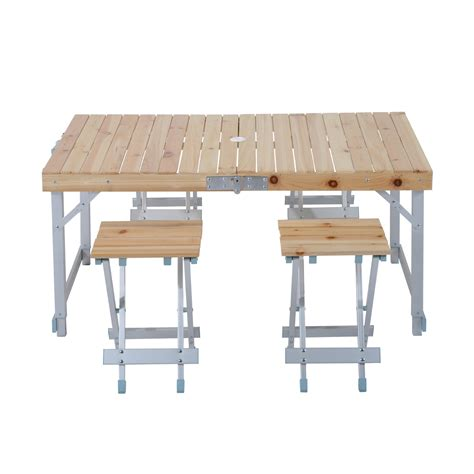 portable table and chairs outsunny 5pcs adjustable wooden aluminum cing picnic