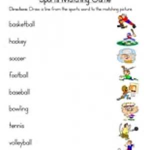 1st grade telling time sports matching worksheet teaching