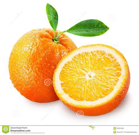Sliced Orange Fruit With Leaves Isolated White Stock