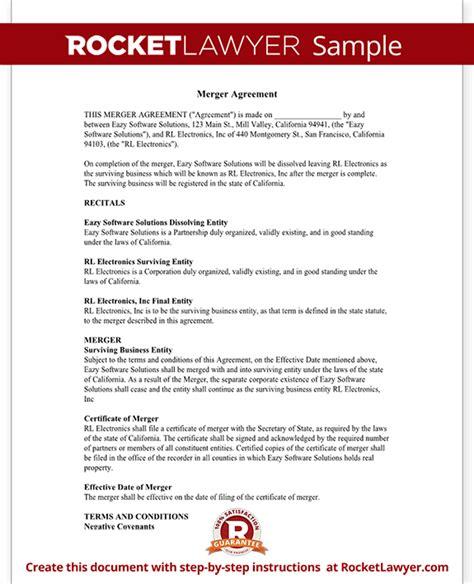 Merger Agreement Template by Merger Agreement Form Merger Agreement Template With