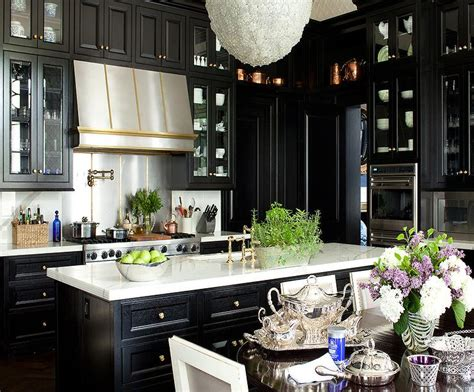 black kitchen cabinets pictures black cabinets gold hardware design ideas 4696