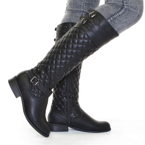 womens biker boots fashion womens biker boots black leather style quilted size 5 10